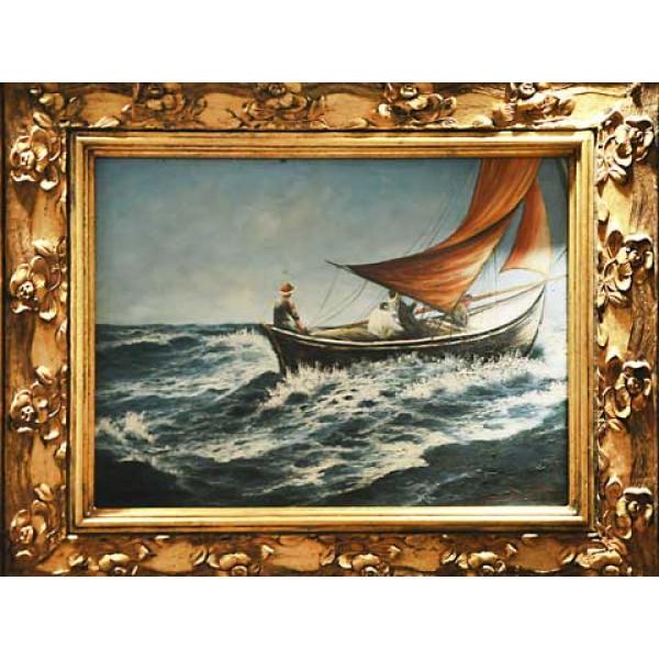 """Πίνακας Ελαιογραφία σε Καμβά με θέμα """"Βάρκα στα Κύματα"""""""