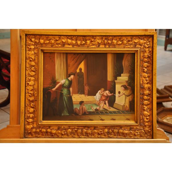 """Πίνακας F. Seliadis """"Παιδιά στα Λουτρά"""""""