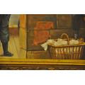 """Πίνακας E. Carrier με Θέμα """"Παιδιά Μικροπωλητές"""" Ελαιογραφία σε Καμβά"""