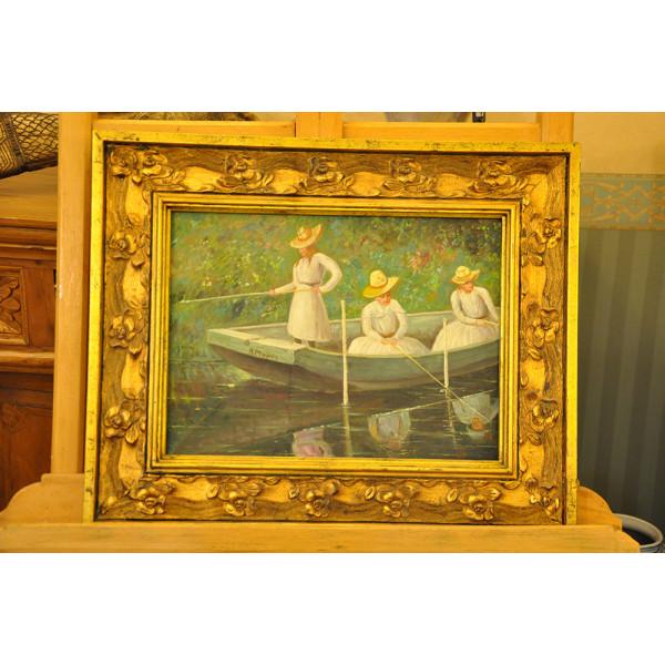 """Πίνακας Ελαιγραφία σε Καμβά """"Γυναίκες που Ψαρεύουν στη Βάρκα"""""""