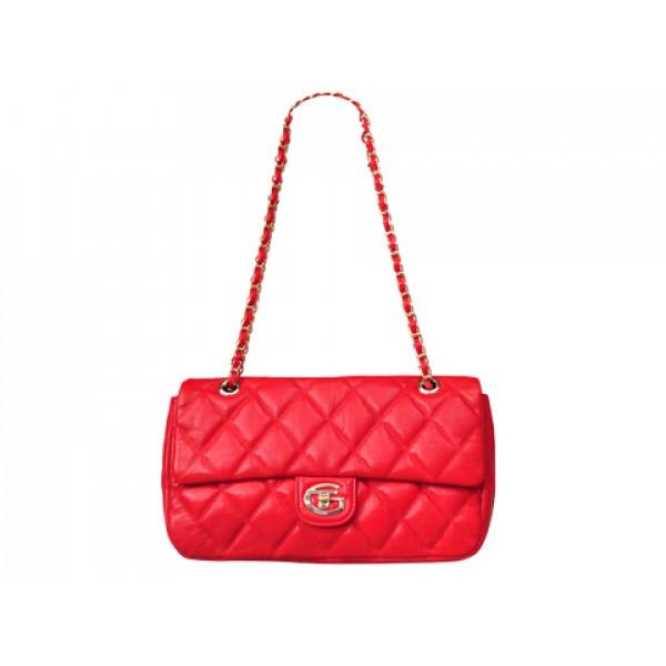 Κόκκινη Καπιτονέ Τσάντα Ώμου από Γνήσιο Δέρμα