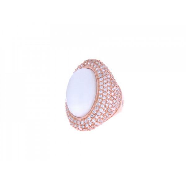 Επίχρυσο Δαχτυλίδι με Moonstone και Λευκά Ζαφείρια