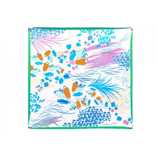Άσπρο Φουλάρι με Μπλε, Πορτοκαλί και Ροζ Σχέδιο