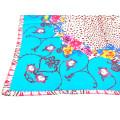 Μεταξωτό Φουλάρι με Λουλούδια σε Γαλάζιο, Μπεζ και Γκρενά Χρώματα
