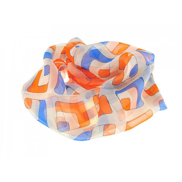 Φουλάρι GT με Πορτοκαλί και Μπλε Γεωμετρικά Σχέδια