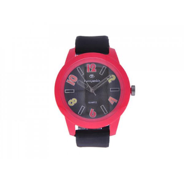 Αδιάβροχο ρολόι GT με κόκκινη κάσα και μαύρο λουράκι σιλικόνης