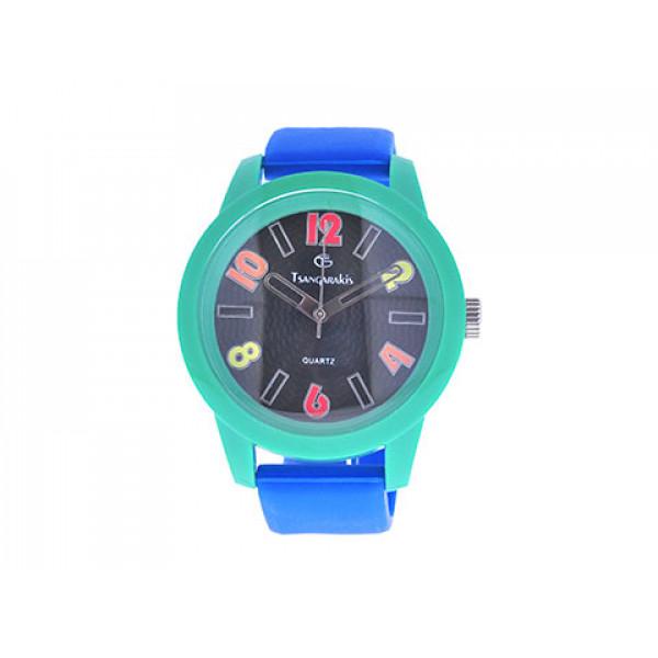 Παιδικό Ρολόι GT με Μπλε Λουράκι και Πράσινη Κάσα