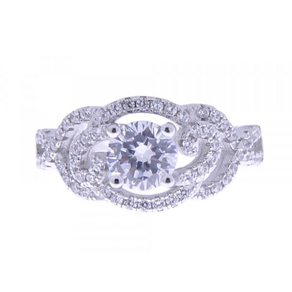 Μονόπετρο Δαχτυλίδι από Επιπλατινωμένο Ασήμι
