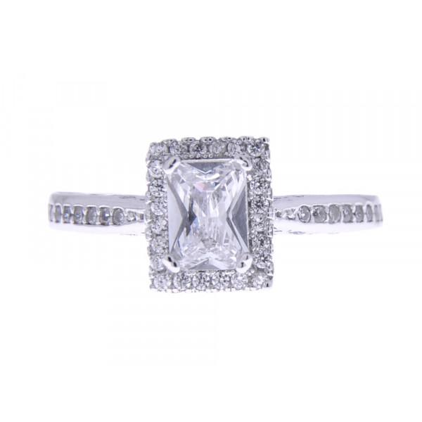 Δαχτυλίδι από Επιπλατινωμένο Ασήμι και Λευκά Ζαφείρια