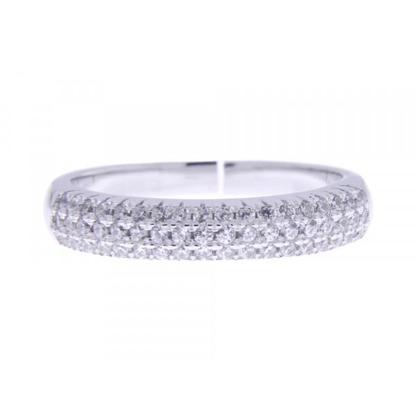 Ολόβερο Δαχτυλίδι από Επιπλατινωμένο Ασήμι με Λευκά Ζαφείρια