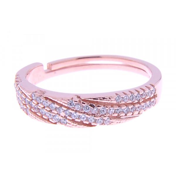 Ροζ Επιχρυσωμένο Δαχτυλίδι από Ασήμι
