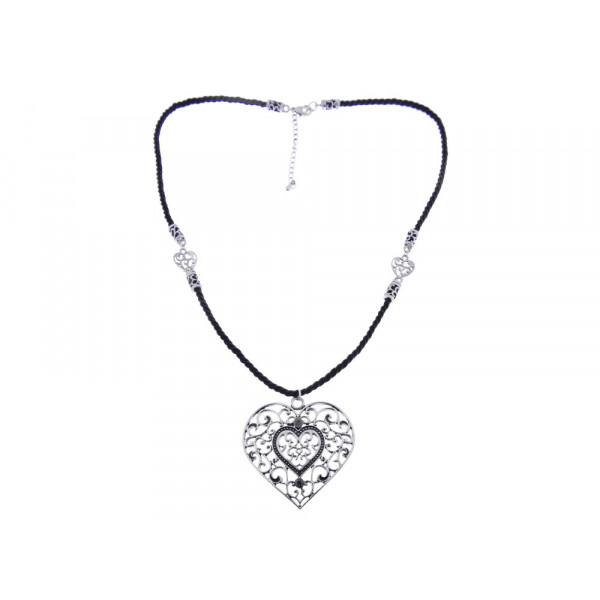 """Κολιέ με χοντρό μαύρο κορδόνι και μία μεταλλική διάτρητη καρδιά με Λευκά Ζαφείρια από τη συλλογή """"BE MINE"""" by Marilou"""
