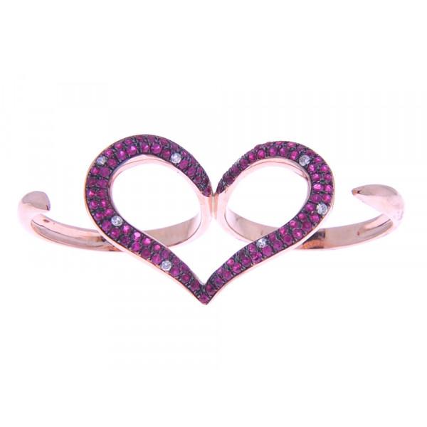 Διπλό Δαχτυλίδι Καρδιά από Ροζ Χρυσό με Ρουμπίνια και Μπριγιάν