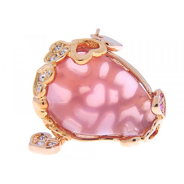 Επίχρυσο Μπομπέ Δαχτυλίδι με Ροζ Χαλαζία και Λευκά Ζαφείρια