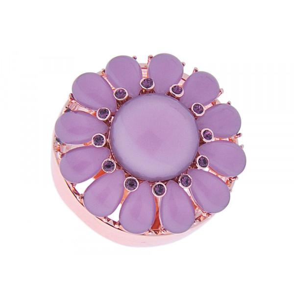 Ροζ Επιχρυσωμένο Μπομπέ Δαχτυλίδι με Λιλά Quartz