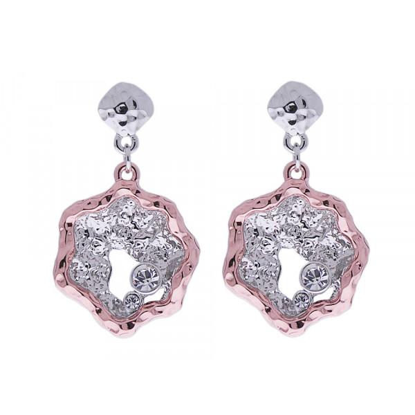 Σκουλαρίκια με Επιμετάλλωση Πλατίνας και Ροζ Χρυσού