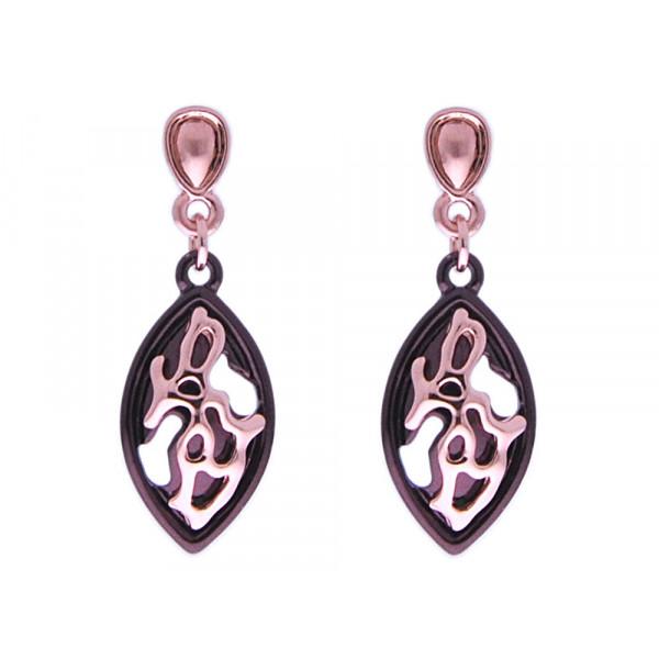 Σκουλαρίκια με Επιμετάλλωση Ροζ Χρυσού και Bronze