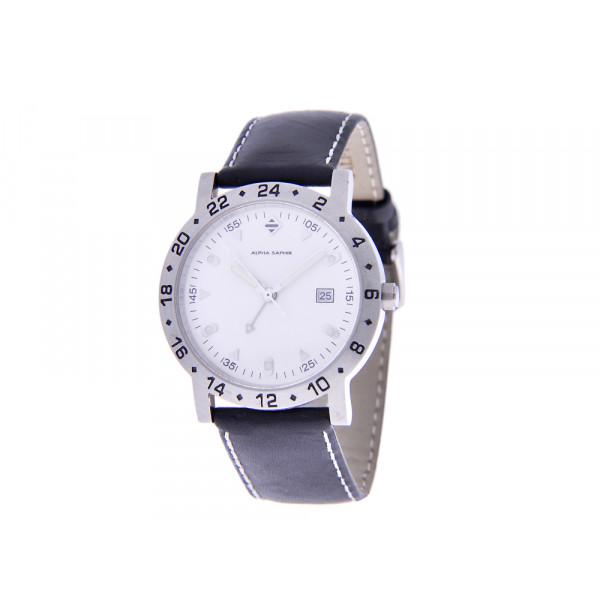 Stainless Steel Ρολόι Alpha Saphir με Μαύρο Δερμάτινο Λουράκι