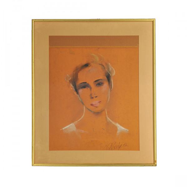 Πίνακας Προσωπογραφία νεαρής Γυναίκας, γκουάς και μολύβια σε χαρτί με υπογραφή Ρενιέρης