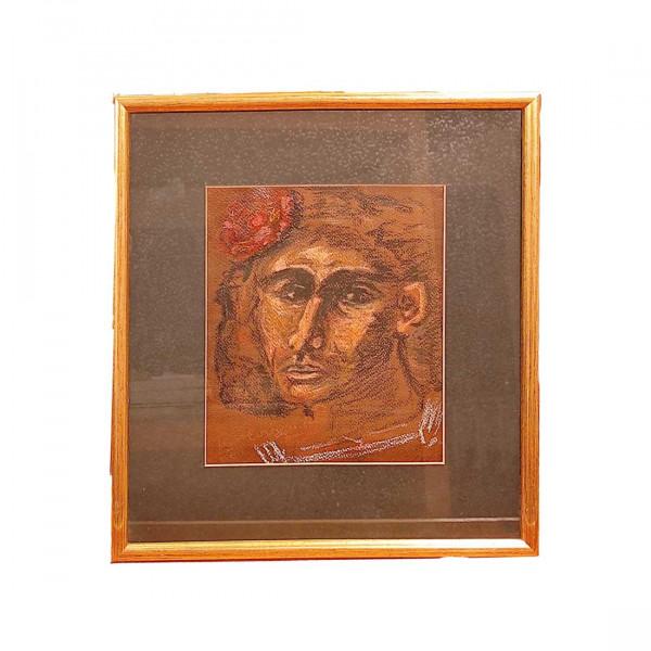 Πίνακας Γκουάς σε Χαρτί του Τσαρούχη που απεικονίζει πορτέτο ανδρός