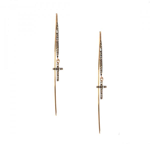 Κ18 Ροζ Χρυσά Σκουλαρίκια με Σταυρουδάκια με brown Μπριγιάν