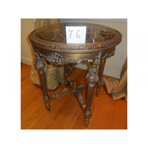 Τραπέζι Στρογγυλό Louis XVI με Μαύρο Μάρμαρο