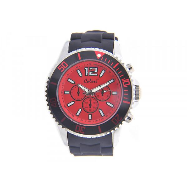 Ρολόι Colori Cool Chrono με Μαύρο Λουράκι Σιλικόνης και Κόκκινο Καντράν