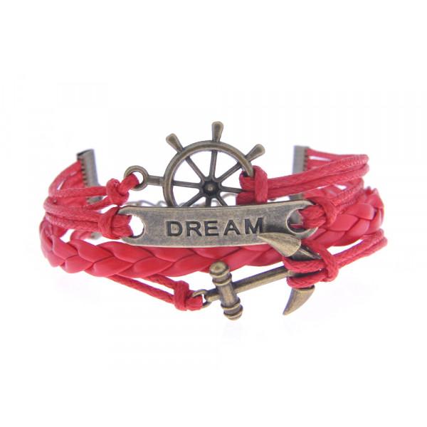 Βραχιόλι από Κόκκινο Δέρμα με Charms Τιμόνι, Άγκυρα και τη Λέξη Dream