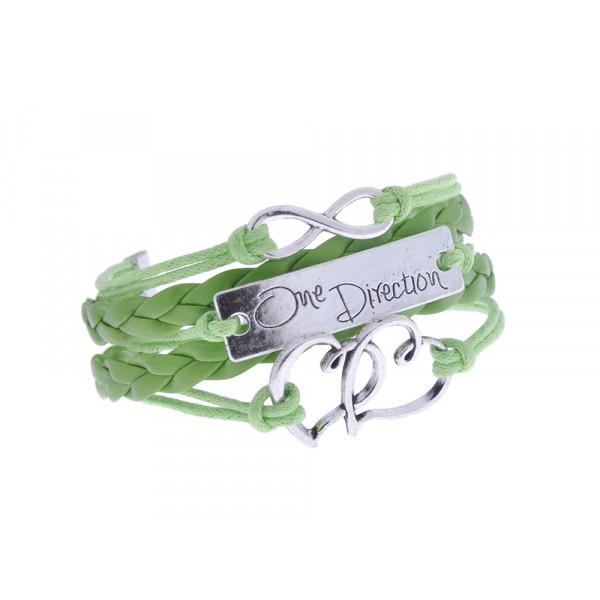 """Βραχιόλι από πράσινο δέρμα και κορδόνια, με Charms άπειρο, καρδιές και """"One Direction"""""""