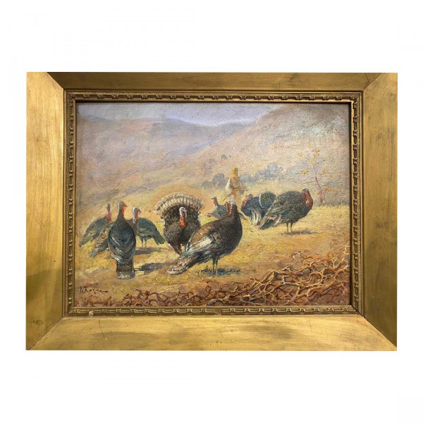 """Πίνακας Ελαιογραφία του Βασιλείου Χατζή με θέμα """"Γαλοπούλες"""""""