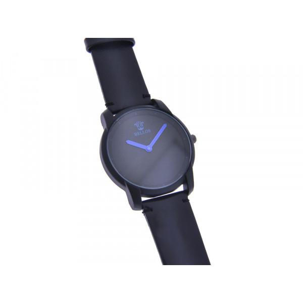 Ρολόι Bellos με μαύρο λουράκι, μαύρο καντράν και μπλε δείκτες