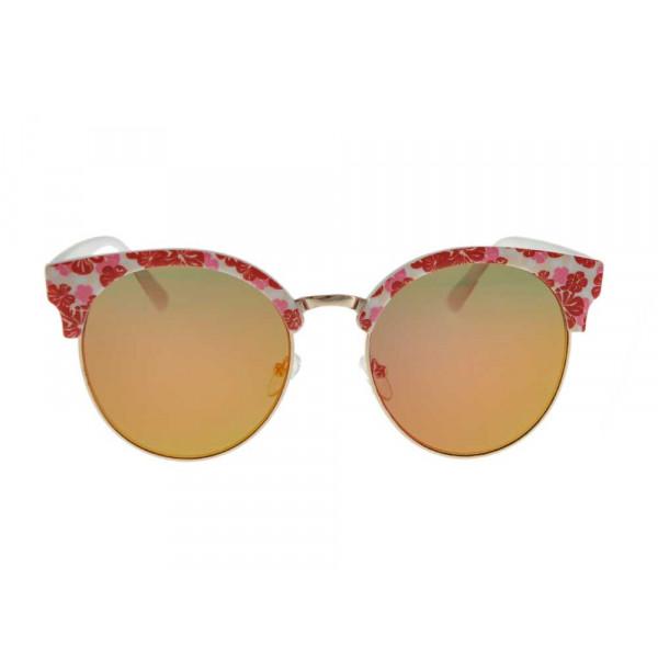 Γυαλιά ηλίου με κόκκινο φλοράλ σκελετό GT Diamond Clear K058435
