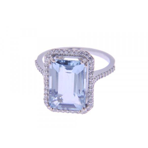Δαχτυλίδι Aquamarine Λευκό Χρυσό Κ18