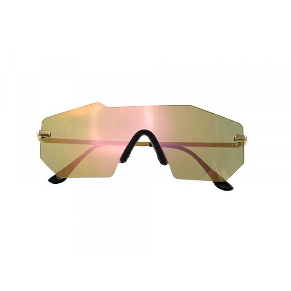 Μοντέρνα Γυαλιά Ηλίου Μάσκα με Καφέ Φακό και Χρυσαφί Σκελετό