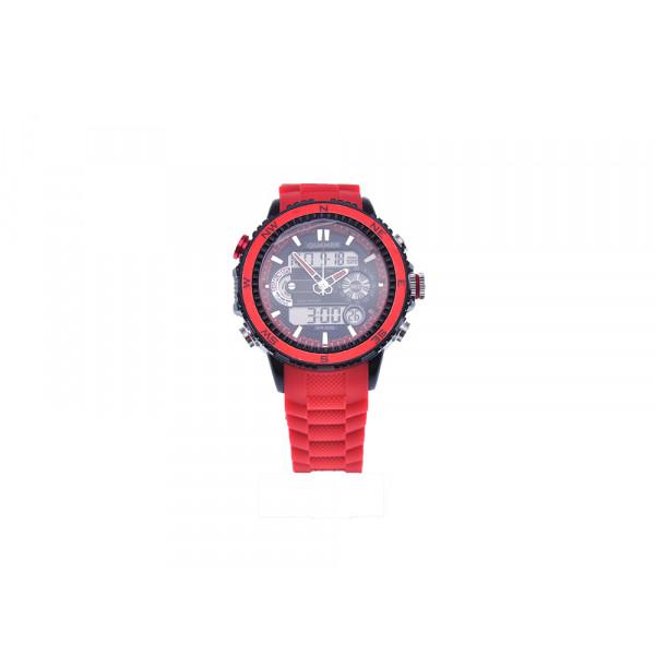 Κόκκινο Ρολόι QUAMER από Stainless Steel και Λουράκι Σιλικόνης