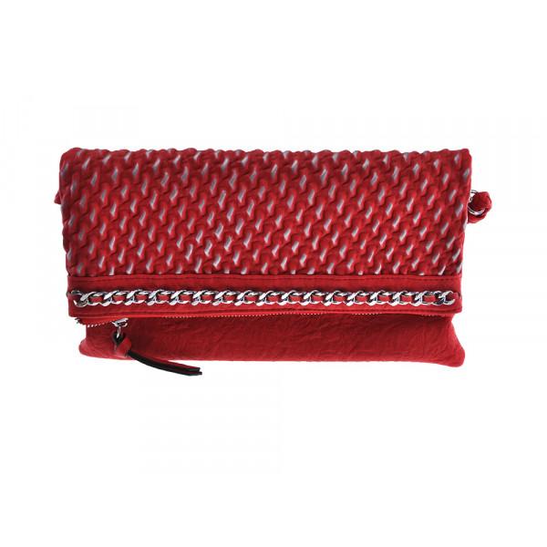 Κόκκινη Τσάντα Ώμου με Ασημί Λεπτομέρειες