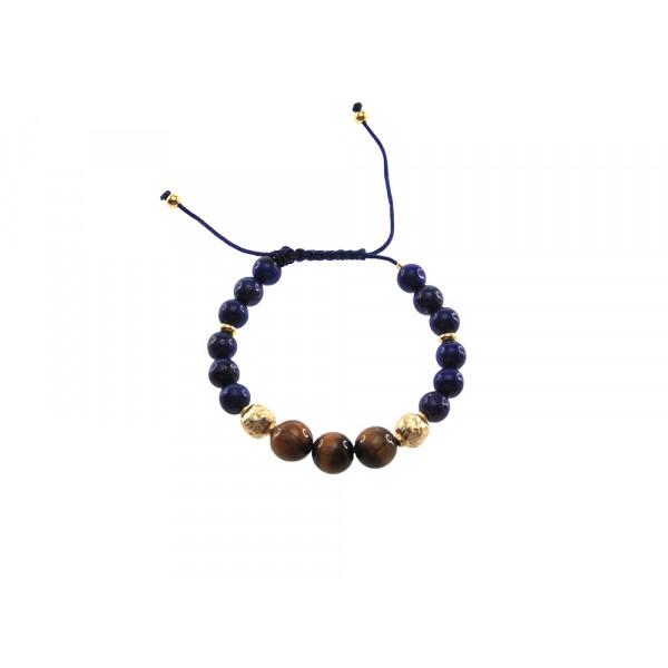 Shamballa Βραχιόλι με Lapis Lazuli και Tiger Eye