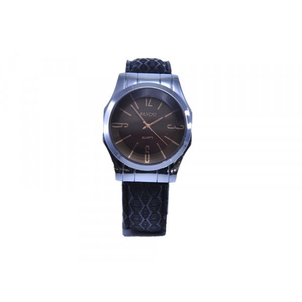 Ρολόι AG με Μαύρο Δερμάτινο Λουράκι και Καφέ Μπρονζέ Καντράν