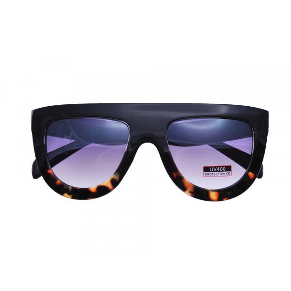 Γυαλιά Ηλίου με Σκελετό Μαύρο και Ταρταρούγα και ροζ smokey φακούς