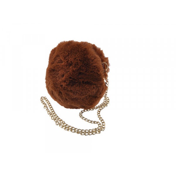 Mini Bag Γούνινη Καφέ με Χρυσαφί Αλυσίδα