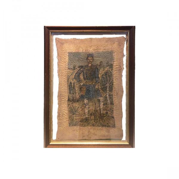 """Πίνακας σε ύφασμα ελαιογραφία και τέμπερα με θέμα """"Ο Παύλος Μελάς"""" του Θεόφιλου Χατζημιχαήλ"""