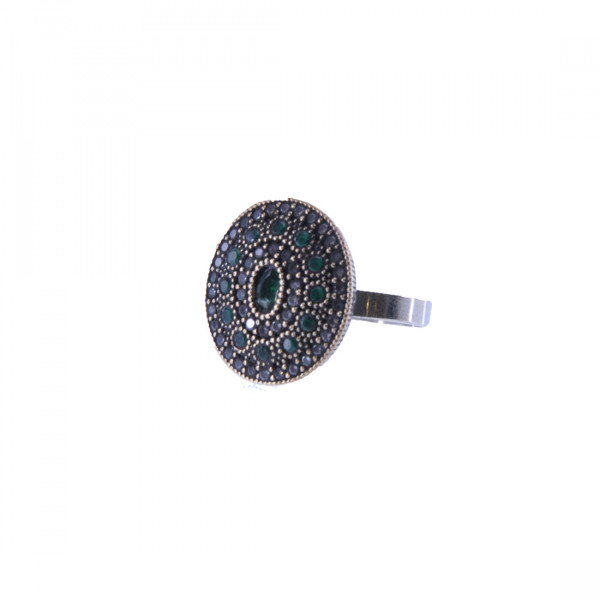 Μίνιμαλ Δαχτυλίδι με Λευκά και Πράσινα CZ σε Ασήμι και Χαλκό