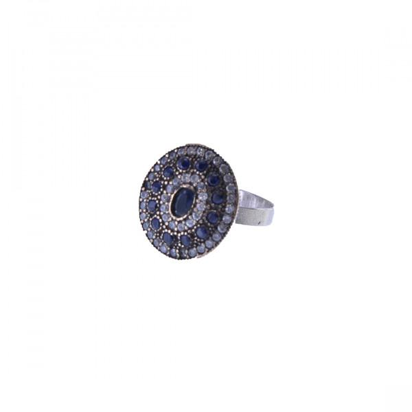 Μίνιμαλ Δαχτυλίδι από Χαλκό και Ασήμι με Λευκά και Μπλε CZ