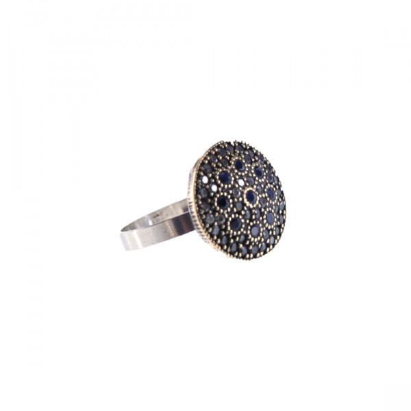 Στρογγυλό Δαχτυλίδι από Ασήμι και Χαλκό με Λευκά και Μπλε CZ