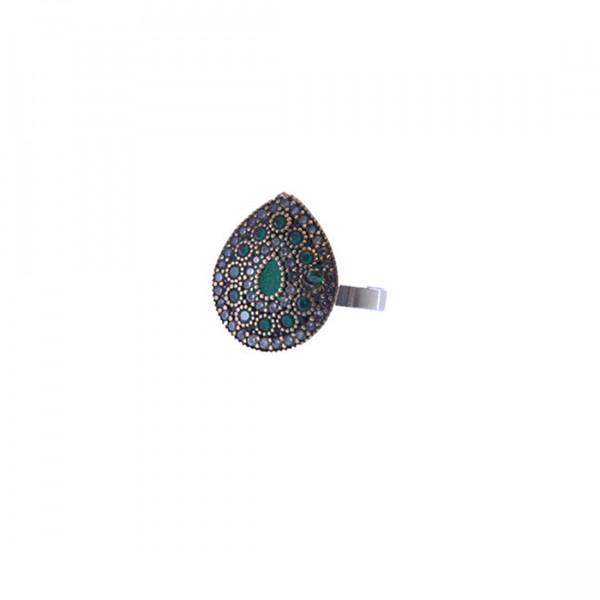Minimal Δαχτυλίδι με Πράσινα CZ σε Ασήμι και Χαλκό