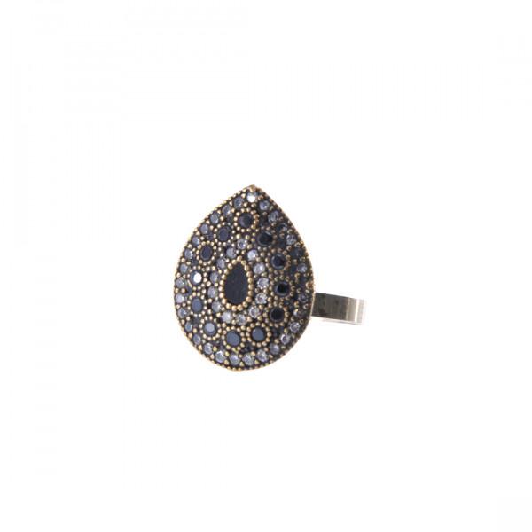 Δαχτυλίδι από Ασήμι και Χαλκό με Λευκά και Μπλε CZ