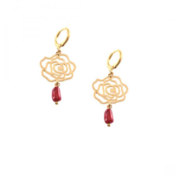 Κρεμαστά Σκουλαρίκια με Σχέδιο Τριαντάφυλλο με Κοράλλι και Επιμετάλλωση Χρυσού