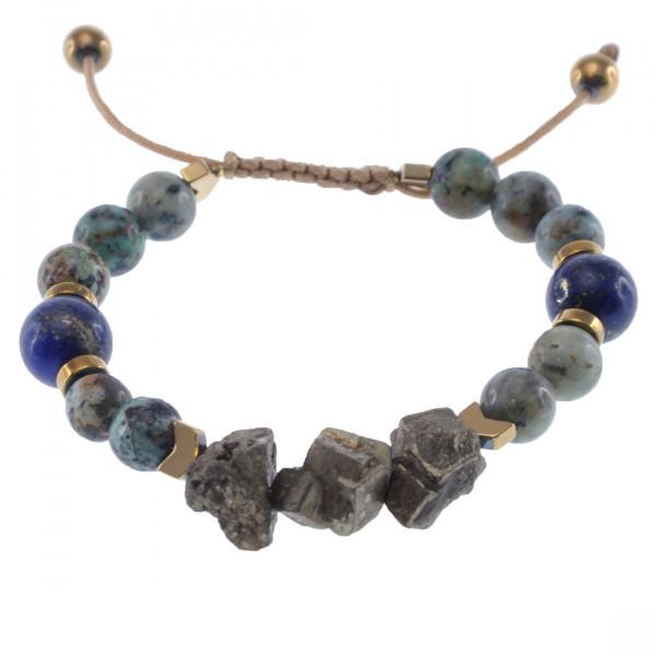 Shamballa Βραχιόλι με Πυρίτη, Ίασπη, Lapis Lazuli και Αιματίτες