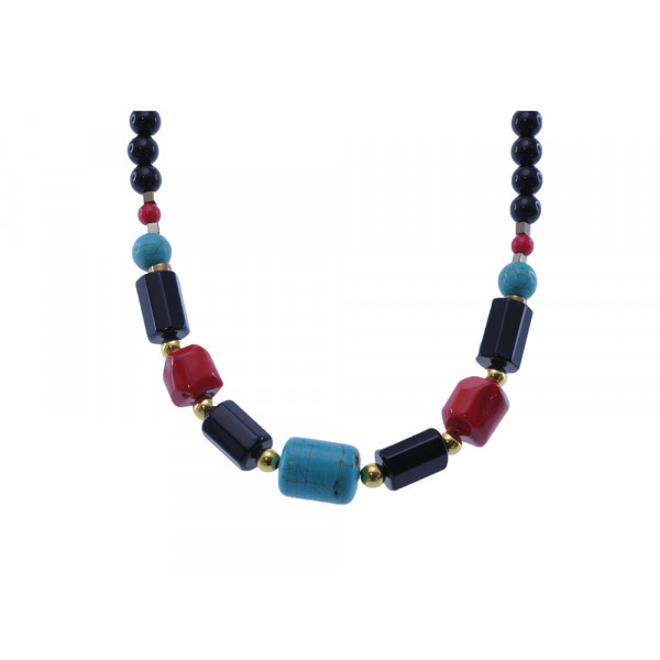 Black Onyx, Turquoise, Coral and Hematite Necklace from the Be Mine Collection by Marilou