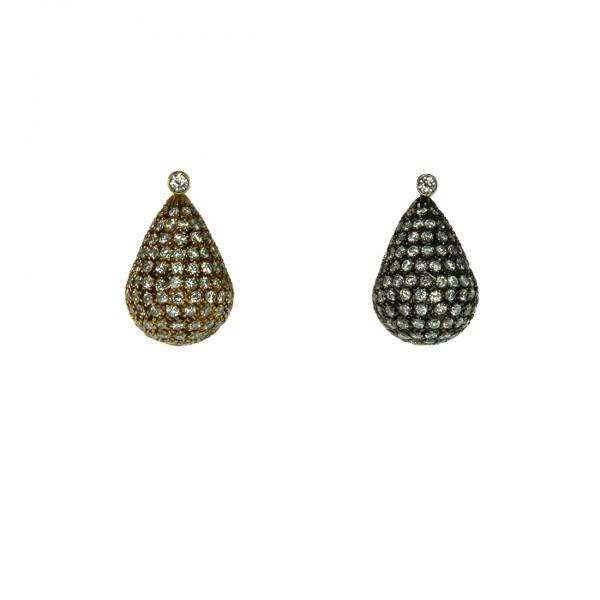 Σκουλαρίκια με Μπριγιάν σε Λευκό και Κίτρινο Χρυσό Κ18